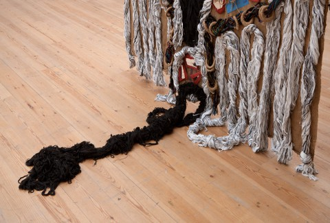 Dorothy Akpene Amenuke, How Far How Near, 2012, jute, cloth, kente and other fabrics (detail).