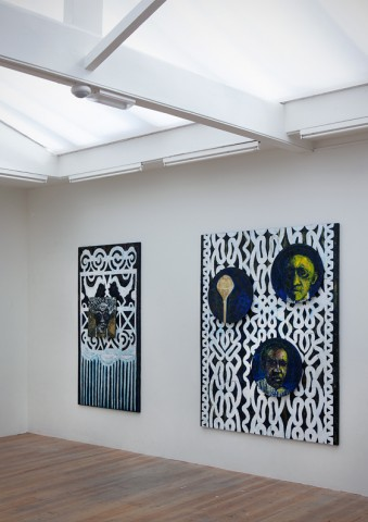 Iris Kensmil, Saramacca Door (left) and  Akan Chief (right), 2012, mixed media on canvas.