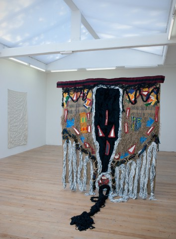 Dorothy Akpene Amenuke, How Far How Near, 2012, jute, cloth, kente and other fabrics.