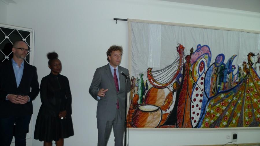 Artist Willem de Rooij, RAW Material director Koyo Kouoh and ambassador P.J. Kleiweg de Zwaan.
